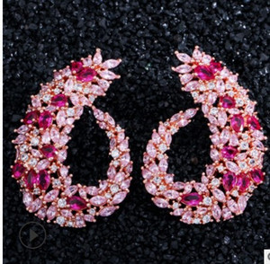 fashion wholesale 2pair lots more color diamond crystal zircon 925 silver lady's earings 57r