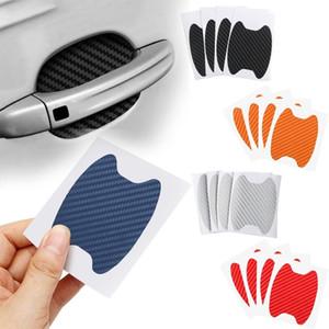 4PCS / 설정 차 문 스티커 탄소 섬유 흠집 방지 커버 자동차 핸들 보호 필름 외관 스타일링 액세서리