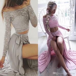 Sexy Prata Two-Pieces Lace Top Vestidos de noite fora do ombro A Linha Chiffon Illusion manga comprida Dividir Side Partido barato vestidos BA4873