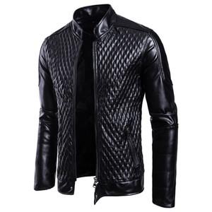 Moda Erkekler Motosiklet PU Deri Ceketler Erkekler Deri Sonbahar Kış Slim Fit Ceketler Erkek Iş Spor Rahat Dış Giyim Mont