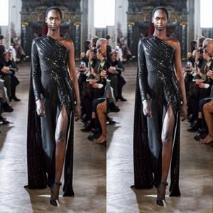 2020 noir paillettes une épaule robes de soirée sirène avec cape froncée ceinture ceinture robes de soirée de balayage train plus la taille robes de bal