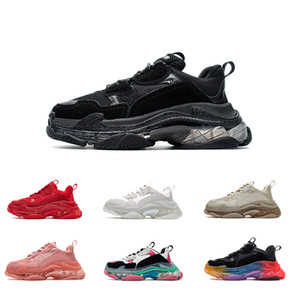 Women Men track shoe Dad Casual Shoes Crystal Bottom Triple S Leisure Shoes Sneakers for Men Vintage Old Grandpa Trainer chaussures WITH BOX