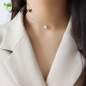 Hongye perles d'eau douce oblats Colliers Bijoux Femmes Choker chaîne de cou Pêche Accessoires de collier de fil Femme Simplicité