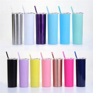 Il nuovo acciaio inossidabile dritto Cup 14 colori Alto Magro Tumbler 20 oz Vacuum Insulation 20 once tazza d'acqua con coperchio paglia 12pcs 5020
