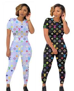 Las mujeres imprimieron dos conjuntos pieza de diseño de manga corta chándal de la raya del verano de manga corta Pantalones equipos ocasionales Chaquetas deportivas Traje S-3X