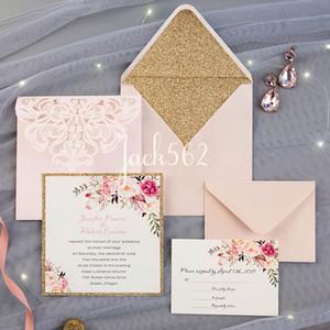 Mehr Farben Blush Hellrosa Lace Tri-Falten-Laser-Schnitt-Hochzeits-Einladungen entwerfen Tasche Hochzeitseinladung Gestanztes Laser Cut Traditionelle Karte