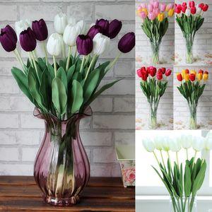12pcs / Lot 64cm Artificial PU Tulip Flowers Single Long Stem Beautiful Simulation Flower Party Wedding Decoration Fake Plant