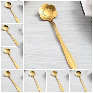 de café de acero inoxidable cucharas de oro color de la flor de cerezo rosa girasol cucharas cucharas de acero inoxidable creativa forma de la flor LXL953-1
