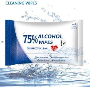 Stok Toptancı Ücretsiz Kargo olarak% 75 Alkol Mendil Islak Taşınabilir Dezenfekte Dipe 10pcs Seyahat Antiseptik Temizleyici Sterilizasyon Wipe