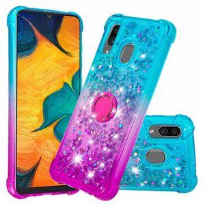 Жидкость Quicksand Glitter Diamond Мягкий ТПУ Чехол Для Samsung Galaxy A20 A30 J6 Премиум Кольцо Стенд Крышка для LG K40 K12 плюс