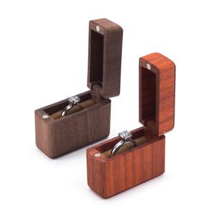 Vintage Wood Ring Bearer Box Свадьба обручальное кольцо держатель Box Ящики для хранения ювелирных изделий Фавор Держатели Подарки Деревянные Jewel Case