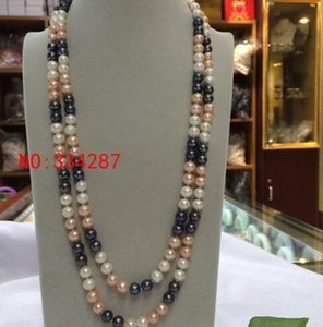 New natural freshwater pearl necklace white pink black multicolor necklace 8-9MM 48 inches long sweater chain
