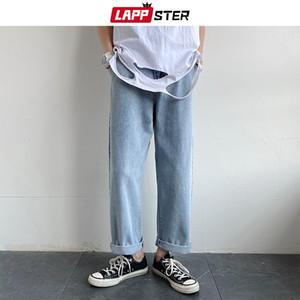 LAPPSTER Yaz Harajuku Jeans Mens 2020 Harem Pantolon Koreli modası Mavi Denim Pantolon Ripped Erkek Hip Hop Baghee Düz Jeans
