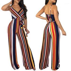 A righe tuta vita alta gamba larga Pantaloni pagliaccetti Streetwear Tuta con i telai sexy di spaghetti donne della cinghia V Neck verticale