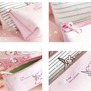 Penbag Pencilcase Kawaii Unicorn Pink PU EstuchesWaterproof Large Capacity Japanese Version Children's Day Gift Girl Stationery