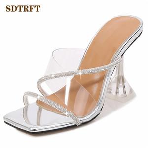 senhoras SDTRFT 9cm saltos altos finos bombas Mulheres diam Chinelos de slides Abra Toe Shoes Glitter Efémero Outdoor Promoção Calçado