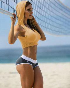 Summer Sports Sexy Frauen Short Hoodies Yoga Laufen U-Ausschnitt Damen Sweatshirts Breathable Mode Damenmode