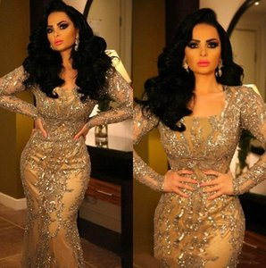 Stunning Mermaid Arabic Dubai Evening Dresses Party Wear 2020 Crystal Beaded Lace Applique Scoop Neck Long Sleeve Floor Length Prom Gowns