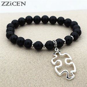Fashion Natural Tiger Eye Black Onyx Lava Stone Red Beads Bracelet Autism Awareness Jigsaw Puzzle Pendant Beaded Jewelry Gifts