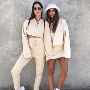 2019 New women New women's plus velvet hooded sports and leisure sweater trousers suit