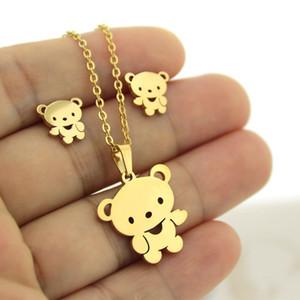 1 Set Oro Colore Acciaio inossidabile Little Bear insiemi dei monili Charms Orecchini delle ragazze delle donne collana Bambini regalo di Natale