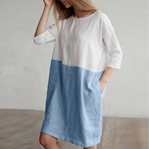 dress Women Casual Patchwork 1 2 Sleeved Cotton Linen Dress Oversize Loose Pockets Tunic dress women 2020