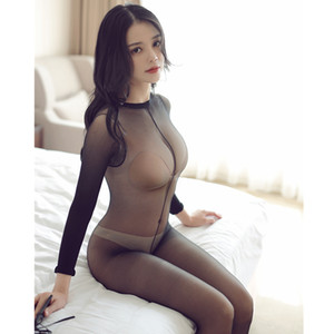 Les femmes Crotchless pure bodystocking Full Body fille collants sexy entrejambe ouvert brillant haut élastique Collants Bas