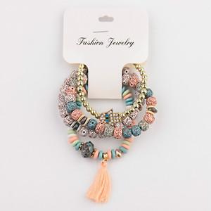 Vintage 4Pcs Lot Women Bracelets Set Bohemia Charm CZ Hand Natural Stone Beads Tassel Pendants Bracelets Pour Les Femmes