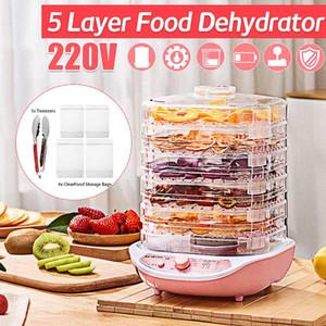 Food Dehydrator Frutas Legumes, Erva, Carne máquina de secagem Pet Food Snacks Secador 5 bandejas 220V Deshidratador De Alimentos
