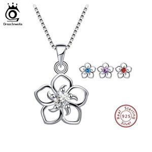 ORSA JEWELS Genuine 925 Sterling Silver Women Flower Pendants Clear Purple Blue Red AAA Dazzling CZ Romantic Girls Jewelry SN97