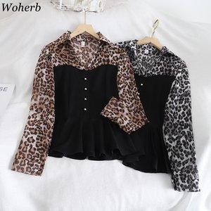 Woherb Femmes Contraste Rétro couleur Patchwork Chemisier à manches longues Leopard Chemises Femme coréenne bureau élégant Casual Hauts Blusas