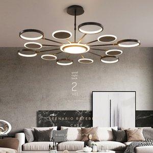 2020 Moderna oro / Black Metal Led Chandelier Lighting acrilico Anelli Soggiorno luci lampadario a sospensione Led Camera Led lampada a sospensione