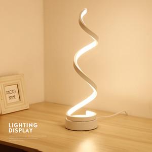 BRELONG espiral candeeiro de mesa LED, curvado lâmpada quente luz LED mesa branco, material acrílico inteligente, muito adequado