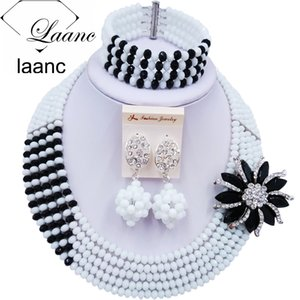 Laanc White Black African Beaded Jewelry Set Nigerian Wedding Necklace Bridal Jewelry Sets 5CJZK013