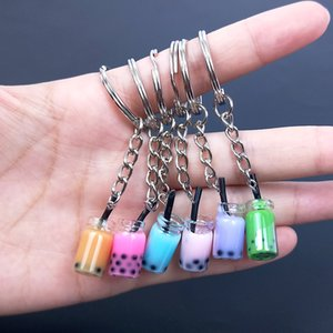 Design Bottle Mini Juice Drink Keyring Resin Pearl Milk Tea Pendant Keychain Women Girl Key Chain Gift Jewelry