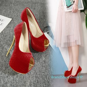 Pretty2019 Wedding Red Nightclub Shallow Waterproof Platform Fish Mouth Super High Single Shoe 41-45 Fine With Women's Shoes
