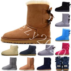 2020 جديد شتاء استراليا كلاسيك أحذية الثلج موضة جيد WGG أحذية تل حقيقي جلدي بيلي BOWKNOT إمرأة Bailey القوس الركبة أحذية الرجال أحذية