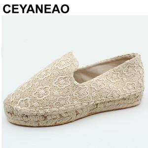 CEYANEAO Espadrilles en dentelle à la main de mode à la main Slip on Casual Mocassins en Toile Plateforme Plateforme ShoesE2112