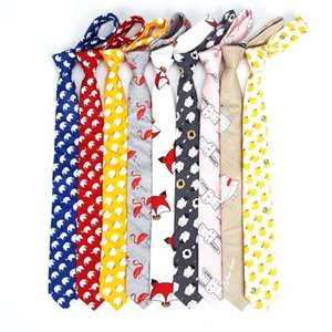 New Cute Cartoon Printed Fish Animals 6cm Neck Tie 100 Cotton Women Men Dress Neck Tie Set Ties Wedding Butterfly Gift Necktie Cravat Access