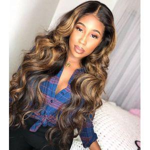 360 Perruques Cheveux Colorés humaine profonde Partie miel blonde mises en valeur Perruques naturelle Vague Remy Preplucked Ombre Brown Lace Front perruque