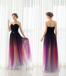 A-Line Evening Dresses Belt Backless Gradient Color Black Chiffon Formal Occasion Party Gowns Real Photos Plus Size Sexy Prom Dresses DH4249