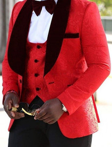 Tuxedos Groom Jacquard Rouge / Noir / Blanc Tuxedos de mariage Homme Veste Homme Côté Veste Velours Revers Blazer 3 Piece Suit (Veste + Pantalon + Gilet + Cravate) 01