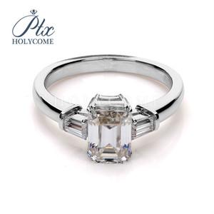 14k Emerald beyaz altın geçme sentetik moisanit elmas yüzük 1CT kesilmiş