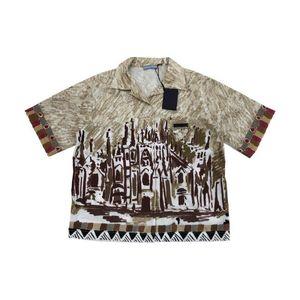 20SS Andys European Castle Druck Kurzarmhemd lose Thin-Revers-Shirt Männer Frauen Shirts HFWPTX408
