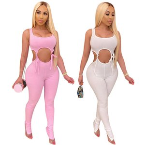 Women Two Piece Summer Outfits Pants Set Solid Color Printed Hollow Out Bandage Design Fashion Suits Sexy Female Clothing