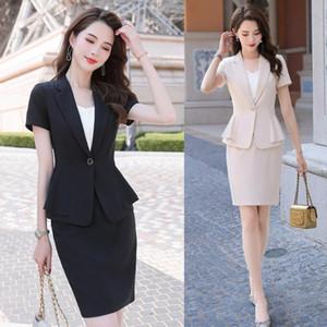 Mujeres Bsiness Trajes con falda y chaqueta Sets negro blazer Ladies Work wear Oficina uniforme estilo manga corta
