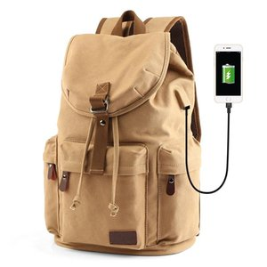 MOYYI Men's 14inch Laptop Backpack Vintage Canvas Backpack Unisex Travel Bags USB Charging Schoolbag Student Mochia