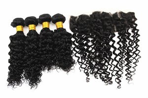 A Water Wave Hair Extensions 3 Bundles With 13x4 Hair Closure Ear To Ear Brazilian 100 %Virgin Human Hair Weaves Natural Color 8 -28inc
