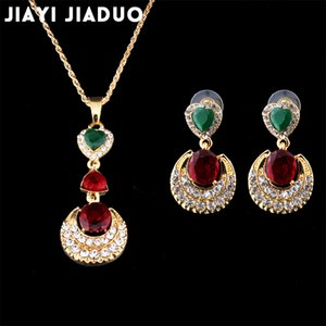 jiayi jiaduo ensemble de bijoux de mariage pour femme Retro India collier boucles d'oreilles couleur or Party love gift ensembles de bijouterie