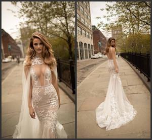 목 등이없는 신부 가운은 기차 얇은 명주 그물 아플리케 웨딩 드레스를 스윕 급락 2020 베르타 레이스 인어 웨딩 드레스와 분리 케이프